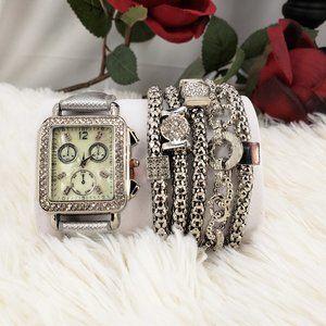 Silver Watch and 5 Bracelet Set NIB